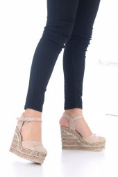 Ladina Dolgu Topuklu Ayakkabı Süet - 11cm, Siyah, Krem, Hardal-8