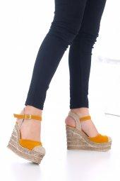 Ladina Dolgu Topuklu Ayakkabı Süet - 11cm, Siyah, Krem, Hardal-10