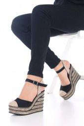 Ladina Dolgu Topuklu Ayakkabı Süet - 11cm, Siyah, Krem, Hardal-11