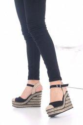 Ladina Dolgu Topuklu Ayakkabı Süet - 11cm, Siyah, Krem, Hardal-12