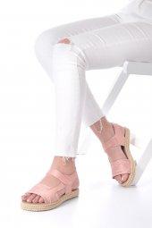 Ness Kadın Sandalet Süet - Cırt Bantlı, Siyah, Pembe-5