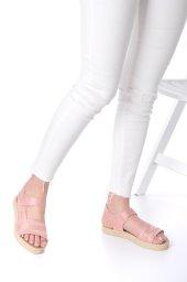 Ness Kadın Sandalet Süet - Cırt Bantlı, Siyah, Pembe-6