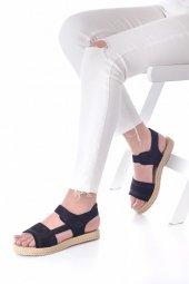 Ness Kadın Sandalet Süet - Cırt Bantlı, Siyah, Pembe-7