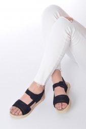 Ness Kadın Sandalet Süet - Cırt Bantlı, Siyah, Pembe-8
