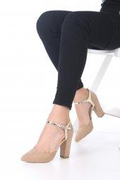 Viviano Topuklu Ayakkabı Süet - Krem, Siyah, 9.5cm, Önü Kapalı-5