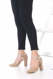Viviano Topuklu Ayakkabı Süet - Krem, Siyah, 9.5cm, Önü Kapalı-6