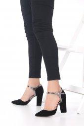 Viviano Topuklu Ayakkabı Süet - Krem, Siyah, 9.5cm, Önü Kapalı-8