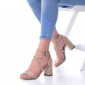 Lucy Topuklu Ayakkabı Süet - 7cm, Kalın Topuklu, Siyah, Krem-3