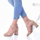 Lucy Topuklu Ayakkabı Süet - 7cm, Kalın Topuklu, Siyah, Krem-4