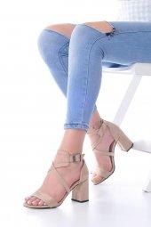 Lucy Topuklu Ayakkabı Süet - 7cm, Kalın Topuklu, Siyah, Krem-5