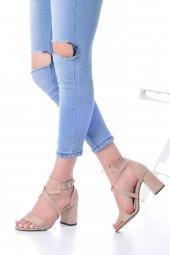 Lucy Topuklu Ayakkabı Süet - 7cm, Kalın Topuklu, Siyah, Krem-6