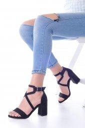 Lucy Topuklu Ayakkabı Süet - 7cm, Kalın Topuklu, Siyah, Krem-7