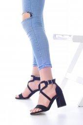Lucy Topuklu Ayakkabı Süet - 7cm, Kalın Topuklu, Siyah, Krem-8