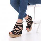 Selini Dolgu Topuklu Ayakkabı Süet Siyah, Krem, Kırmızı, Mavi