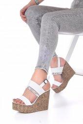 Marcella Dolgu Topuklu Ayakkabı - 11cm, Siyah, Beyaz-5