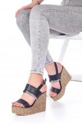 Marcella Dolgu Topuklu Ayakkabı - 11cm, Siyah, Beyaz-7