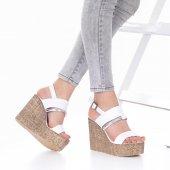 Marcella Dolgu Topuklu Ayakkabı - 11cm, Siyah, Beyaz-4