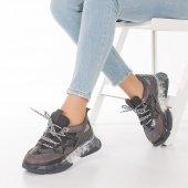 Alfreda Kadın Spor Ayakkabı - Şeffaf Taban, Gri, Siyah-3