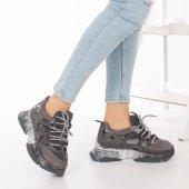 Alfreda Kadın Spor Ayakkabı - Şeffaf Taban, Gri, Siyah-4