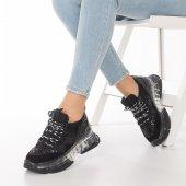 Alfreda Kadın Spor Ayakkabı - Şeffaf Taban, Gri, Siyah-5
