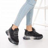 Alfreda Kadın Spor Ayakkabı - Şeffaf Taban, Gri, Siyah-6