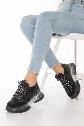 Alfreda Kadın Spor Ayakkabı - Şeffaf Taban, Gri, Siyah-9