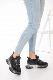 Alfreda Kadın Spor Ayakkabı - Şeffaf Taban, Gri, Siyah-10
