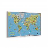 Tabrika Trustik Dünya Haritası Kanvas Tablosu