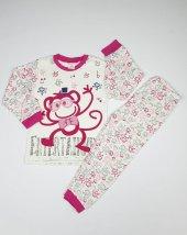 Kız Erkek Bebek Gözlüklü Maymun Modelli Pijama Takımı 4 6 Yaş Pembe C66748 11