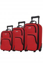 Biggi 00223 Kırmızı 3lü Kumaş Valiz Seti