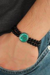 Yeşil Renkli Metal Üzerine Atatürk İmza Figürlü Siyah Renk Çift S