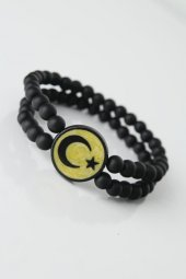Sarı Renkli Siyah Ay Yıldız Figürlü Doğaltaş...