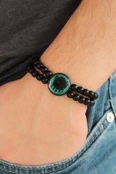 Yeşil Renkli Metal Üzerine Osmanlı Arması Figürlü Siyah Renk Çift
