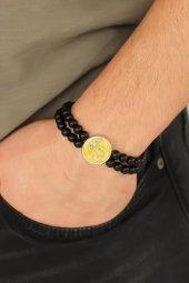 Sarı Renk Metal Atatürk Portresi Tasarımlı Siyah Renk Mat Oniks D