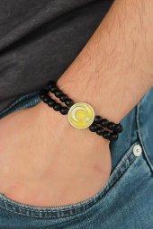 Sarı Metal Ay Yıldız Tasarımlı Siyah Renk Mat...