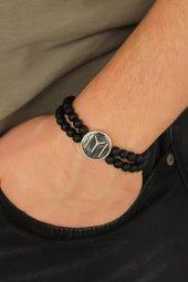 Siyah Metal Kayı Boyu Tasarımlı Siyah Renk Mat Oniks Doğal Taş Er