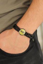 Sarı Metal Atatürk İmza Tasarımlı Siyah Renk Mat Oniks Doğal Taş