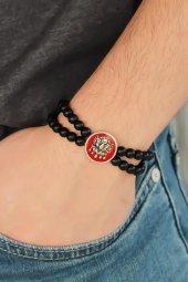 Osmanlı Armalı Kırmızı Renk Metal Aksesuarlı Siyah Oniks Doğal Ta