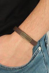 Eskitme Renk Metal Şık Tasarım Aksesuarlı Kahverengi Deri Erkek B