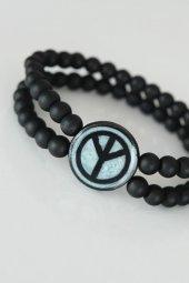 Barış Figürlü Açık Mavi Renk Siyah Metal Aksesuarlı Çift Sıra Oni-2