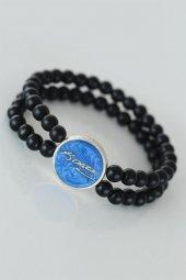 Mavi Renkli Metal Üzerine Atatürk İmzası Figürlü Siyah Renk Çift
