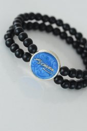 Mavi Renkli Metal Üzerine Atatürk İmzası Figürlü Siyah Renk Çift -2