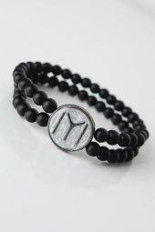 Gri Renkli Metal Üzerine Füme Kayı Boyu Figürlü Siyah Renk Çift S