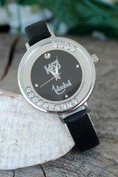 İstanbul 1453 Tasarımlı Siyah Renk Deri Kordonlu Bayan Saat