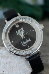 İstanbul 1453 Tasarımlı Siyah Renk Deri Kordonlu Bayan Saat-2