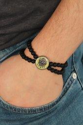 Sarı Metal Osmanlı Arması Tasarımlı Siyah Renk Mat Oniks Doğal Ta