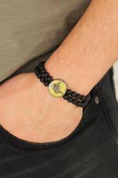 Osmanlı Tuğralı Sarı Metal Aksesuarlı Siyah Oniks Doğal Taş Erkek-2