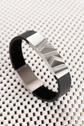 Siyah Deri Tasarımlı Gri Çelik Aksesuarlı Erkek Bileklik-2