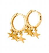 Sallantılı Halka Yıldız Küpe 14 Ayar Yeşil Altın