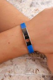 Mavi Silikon Kordonlu Çelik Tasarımlı Erkek Bileklik-2